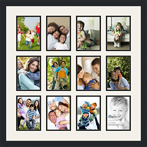 ArtToFrames Collage Photo Frame Double Mat with 12 - 5x7 Openings and Satin Black Frame (Collage Frames Christmas)