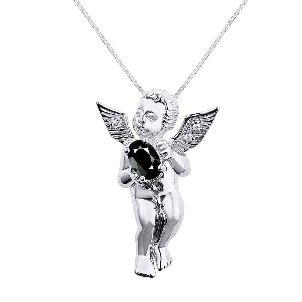 """ダイヤモンド&オニキスLucky Guardian Angel Cherubペンダントネックレス14 Kホワイトゴールドにセットwith 18 """"チェーン B07BBW9X7T"""