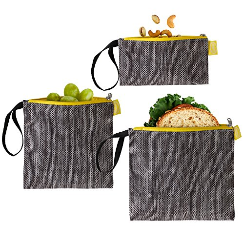 Tabkoe Reusable Snack Bags with Handles – XL, Large & Small Zippered Lunch Baggies for Sandwiches, Meal Prep & More – Resealable, Washable, Eco-Friendly, 3pc Zip Up Pouch (Gray Yellow)