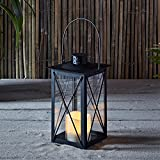 Regular Black Metal Battery Operated LED Flameless Candle Lantern for Indoor Outdoor Use
