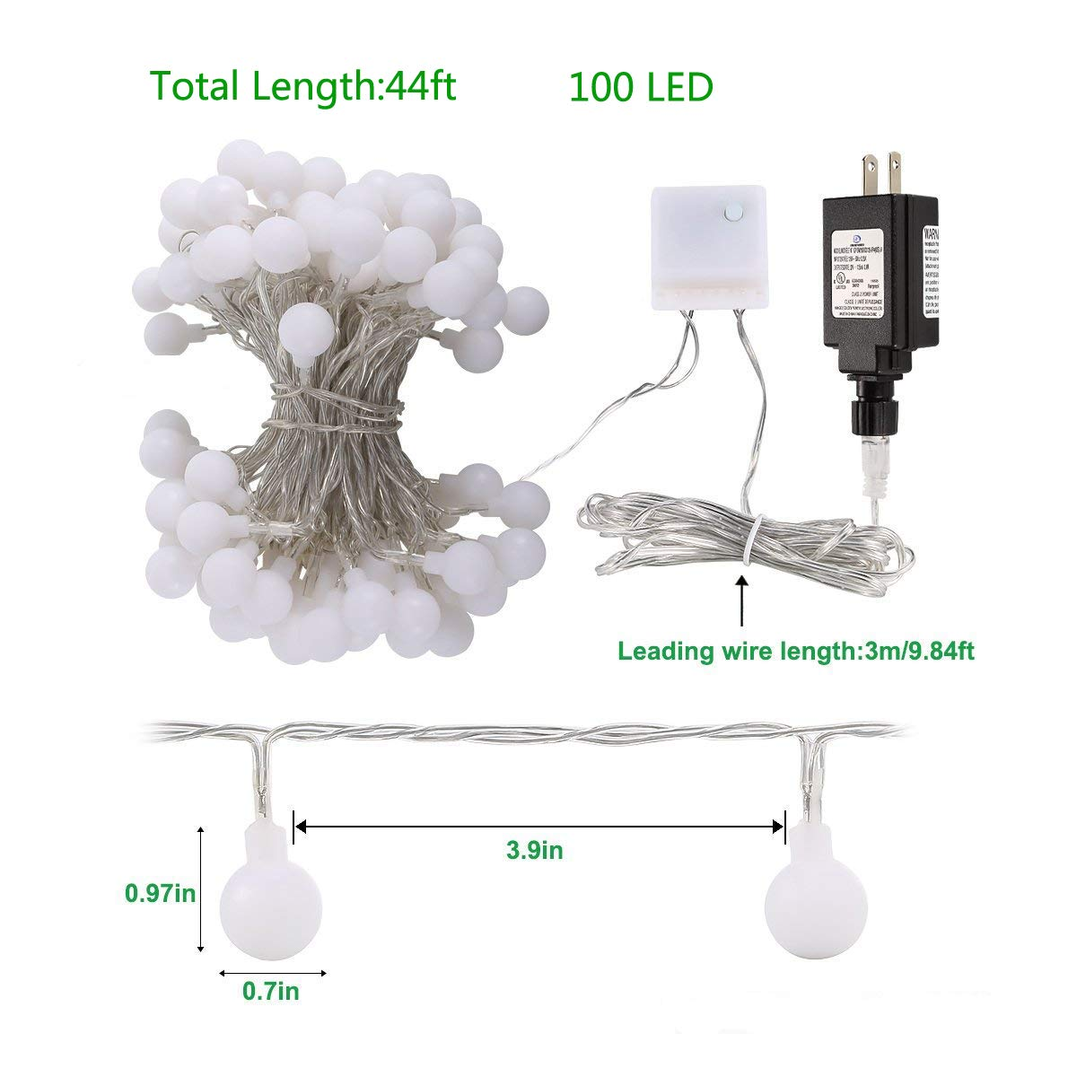 Tomshine Globe String Lights With Remote Timer 44ft 100 Led Tree Wiring Diagram Dimmable Plug In Light Outdoor Decorative Waterproof Fairy For