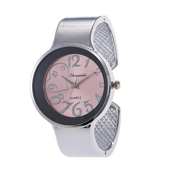 YAZILIND cuarzo reloj de pulsera creativa corazón forma dial reloj de aleación correa abierta pulsera (