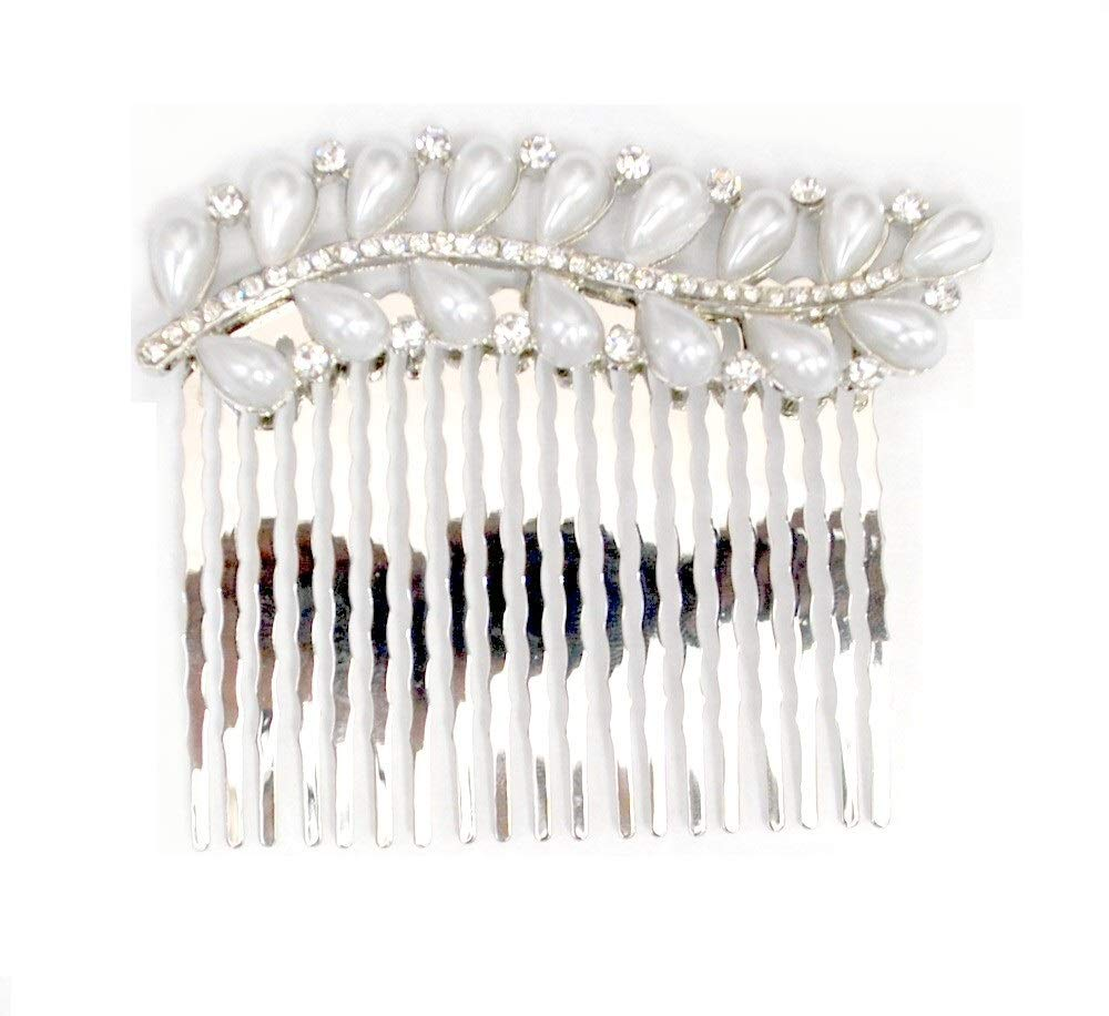 Women's Bohemian Ivory Color Simulated Pearl Flower Beaded Crystal Wedding Bridal Hair Comb Clear (Silver) by Love My Seamless (Image #2)