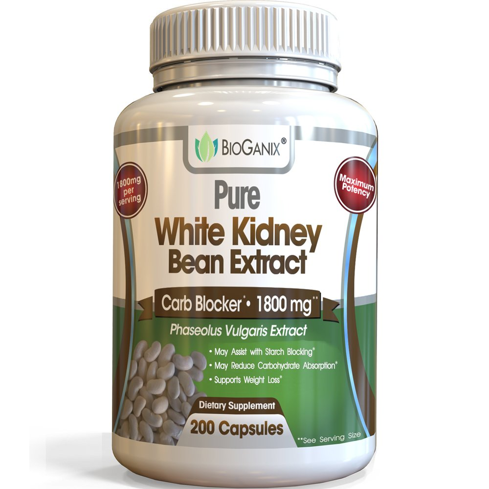 100% Pure White Kidney Bean Extract 1800mg Serving (200 Capsules) Best Carb and Fat Blocker & Starch Intercept Supplement for Weight Loss by BioGanix