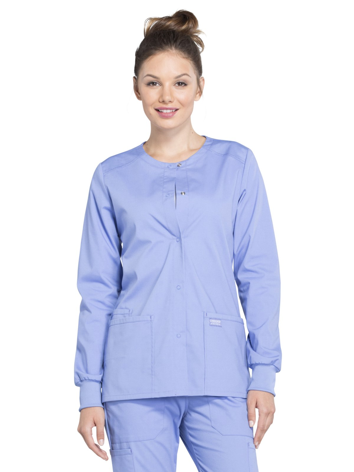 Cherokee Professionals Workwear Women's Snap Front Warm-Up Solid Scrub Jacket Medium Ciel Blue by Cherokee (Image #1)