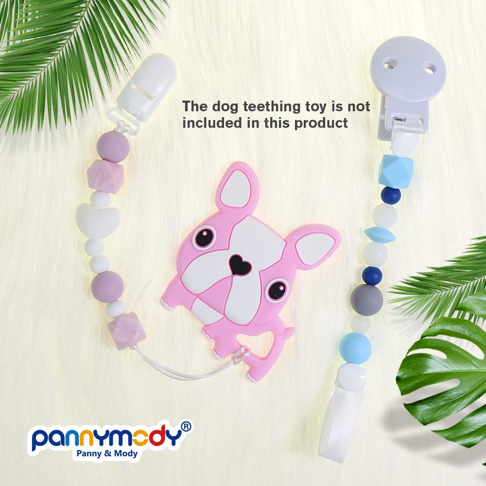 2 Pack, Pink+Grey Panny /& Mody Pacifier Clip Silicone Rose Flower Teethers BPA Free Binky Holder Soother Chains for Baby Girls