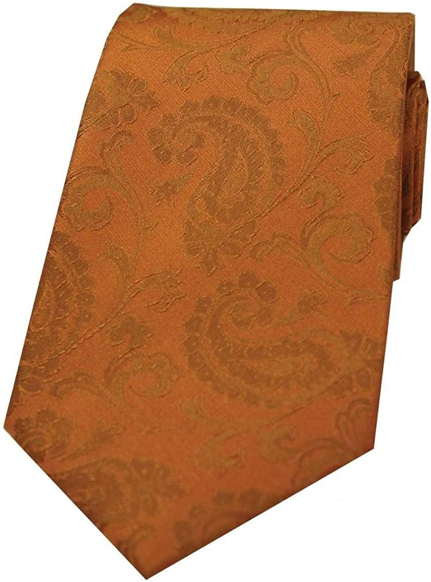 David Van Hagen Mens Luxury Paisley Silk Tie Orange