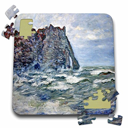 1883 Rough (3dRose FabPeople - Claude Monet Portraits - Port d Aval, Rough Sea, Claude Monet Painting 1883, PD-US - 10x10 Inch Puzzle (pzl_179239_2))