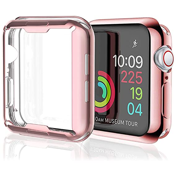 best website feaa3 65dc2 [2 Pack] Misxi Rose Gold Case Compatible with Apple Watch Series 4 Screen  Protector 40mm, iwatch Cover TPU Overall Protection Ultra-Thin Case for ...