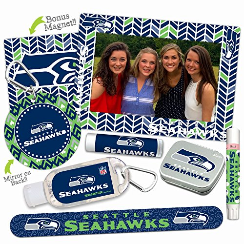 Seattle Seahawks Deluxe Variety Set with Nail File, Mint Tin, Mini Mirror, Magnet Frame, Lip Shimmer, Lip Balm, Sanitizer. NFL gifts for women Mother's Day, Stocking Stuffers