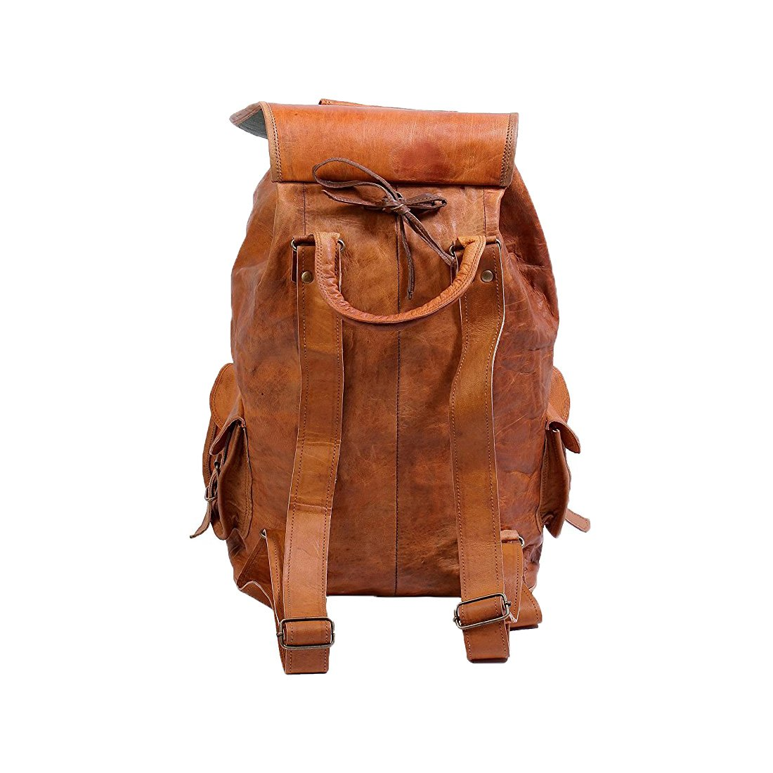 8dee28ccf5 Pranjals House Vintage Brown Genuine Leather Handmade Backpack  Amazon.in   Bags