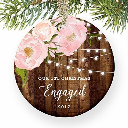 First Christmas Mug (Engagement Gifts for Her, Our 1st Christmas We're Engaged First Christmas Ornament 2017 Couple Pink Peonies Rustic Xmas Farmhouse Collectible 3