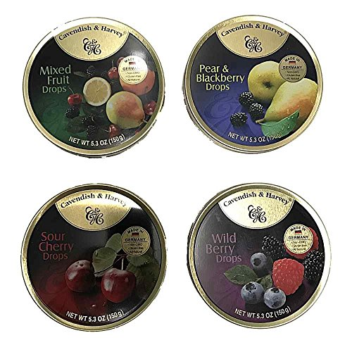 Cavendish & Harvey Hard Candy Drops 4 Flavors 5.3 ounce Tins ()