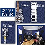 Limited Edition: Instruments Posters with Quotes About Music, The Best Music Gift! Set of 3 11X17 Posters of 1MM Thick & Navy Blue Color!
