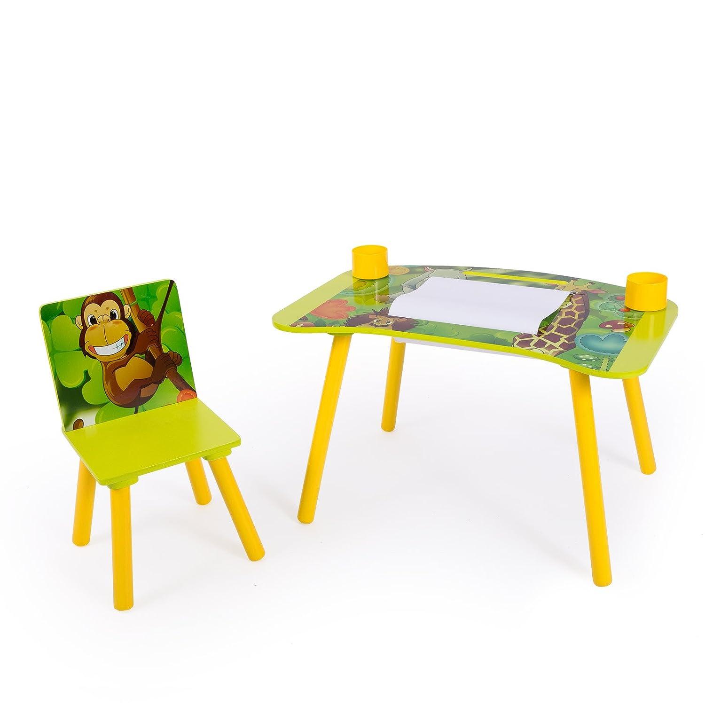 Homestyle4u 1131 Kindersitzgruppe Dschungel Tiere, Kindermöbel Set aus 1 Kindertisch 1 Stuhl Papierrolle, Holz Grün Holz Grün HOMESTYLE4U_1131