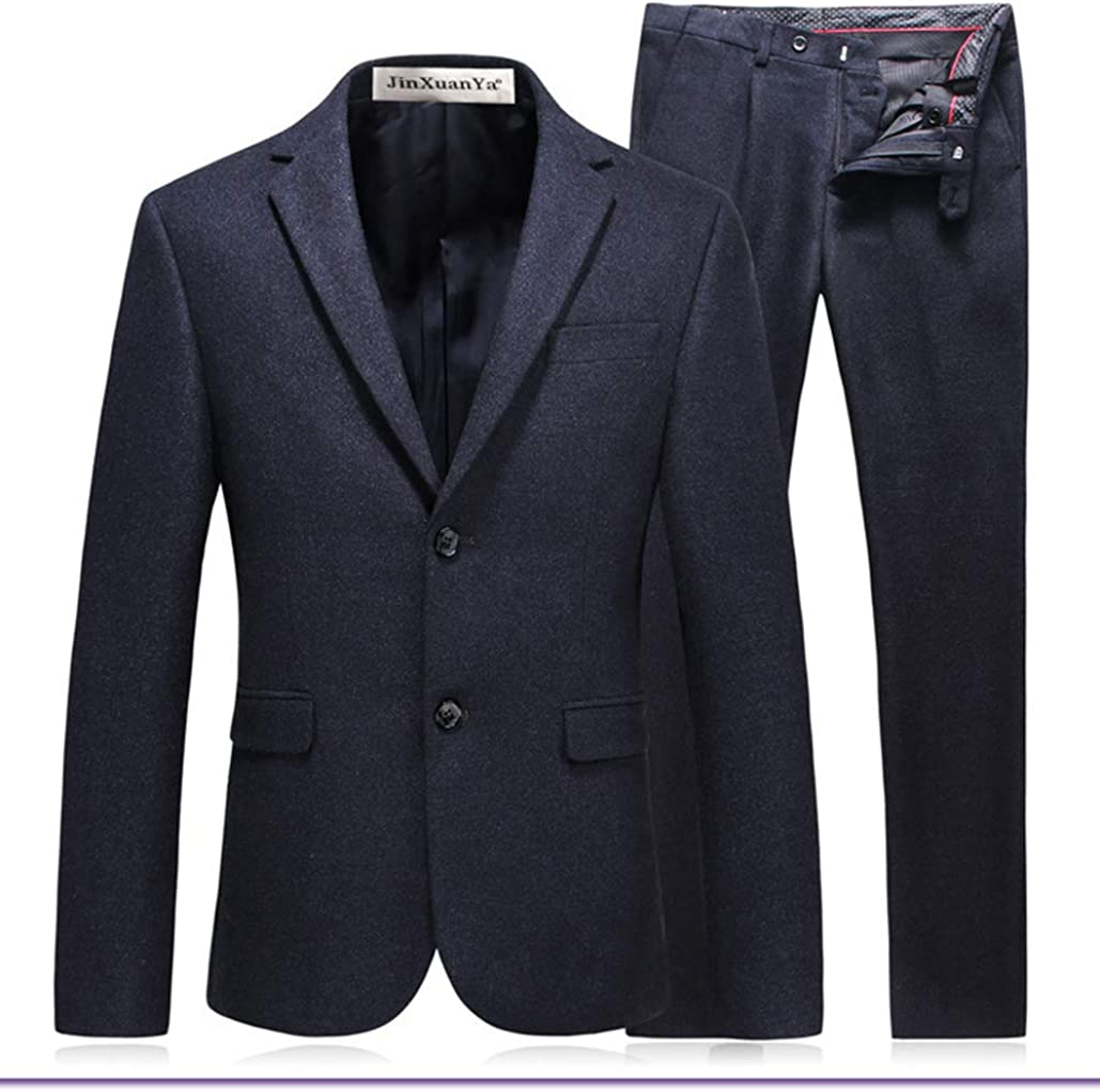 JinXuanYa Two-Piece Classic Fit Office 2 Button Suit Jacket /& Pleated Pants Set