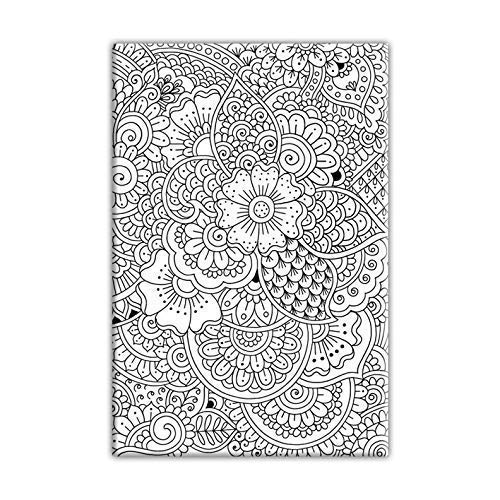 Henna Doodle Coloring Canvas For Adults, Stretched primed canvas to - Stretched Girl Canvas