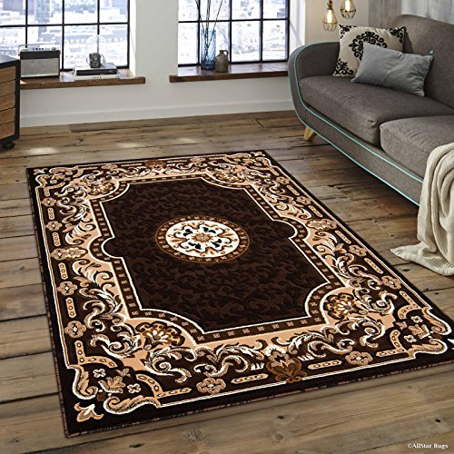 (Allstar 5x7 Chocolate and Espresso Classic Floral French Country Machine Carved Effect Rectangular Accent Rug with Ivory and Mocha Bordered Medallion Design(5' 2