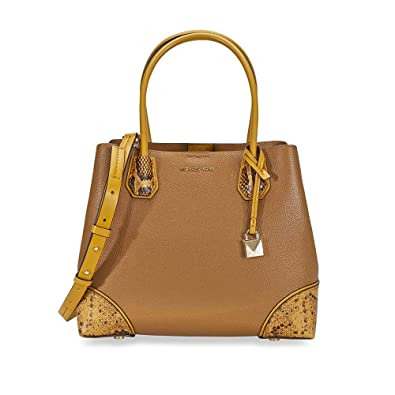 28ad55bb2db2 Michael Kors Mercer Pebbled Leather Shoulder Bag - Acorn: Handbags ...