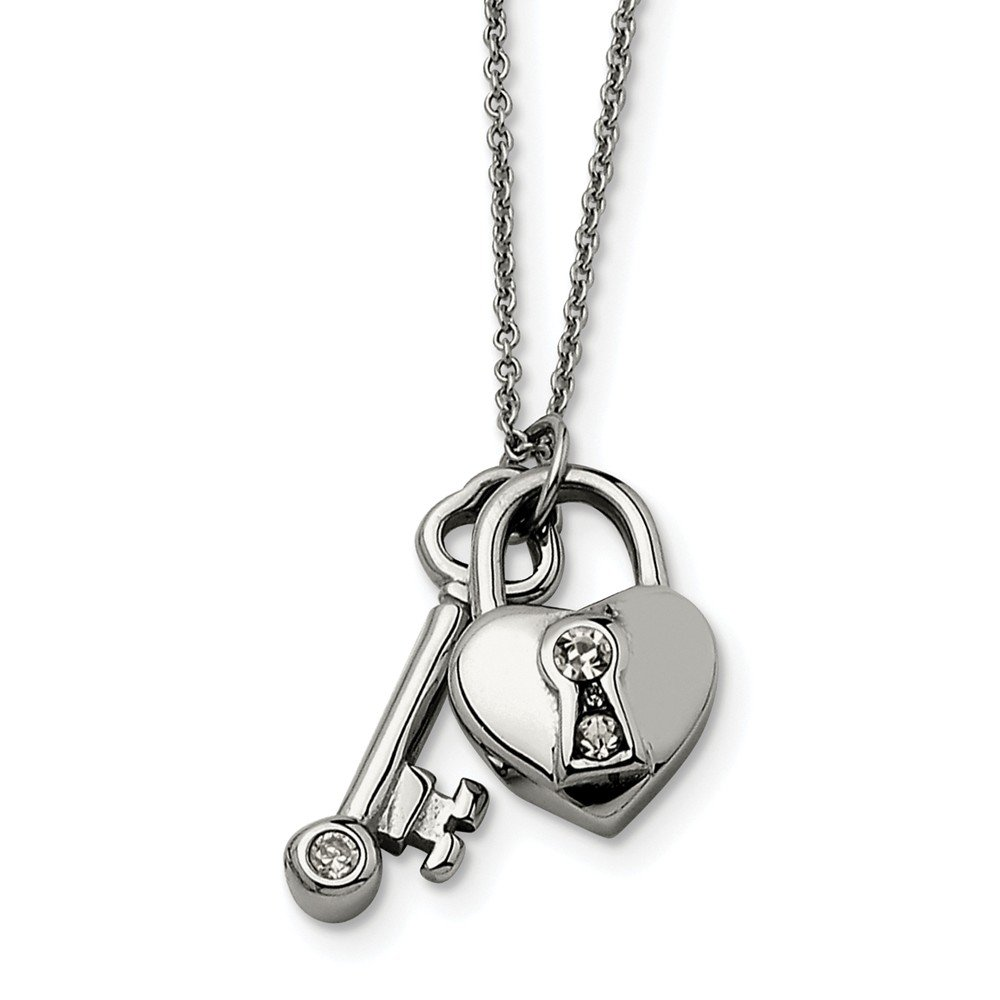 JE Beautiful Stainless Steel Heart Lock /& Key withCZ with 2inch ext Necklace