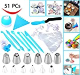Joiedomi 51 Pieces Cake Icing and Decorating Kit Including 12 Stainless Steel Icing Tips, 25 Disposable Decorating Bags, Tri Color Coupler, Icing Spatulas, Icing Smoother, Cupcake Corer and More