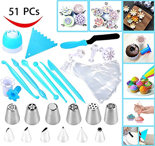 Joiedomi 51 Pieces Cake Icing and Decorating Kit Including 12 Stainless Steel Icing Tips, 25 Disposable Decorating Bags, Tri Color Coupler, Icing Spatulas, Icing Smoother, Cupcake Corer and More by Joiedomi