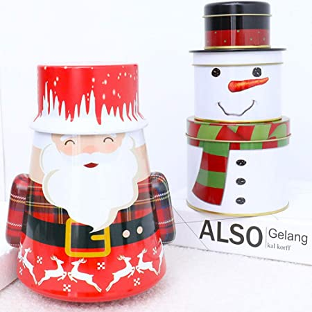 LLucky story Caja de Dulces de Navidad Hierro,Latas de Lata de Metal de Navidad Regalo Vacío Caja de Almacenamiento de Dulces de Chocolate Contenedores de Navidad con Tapas-Santa Claus: Amazon.es: Hogar