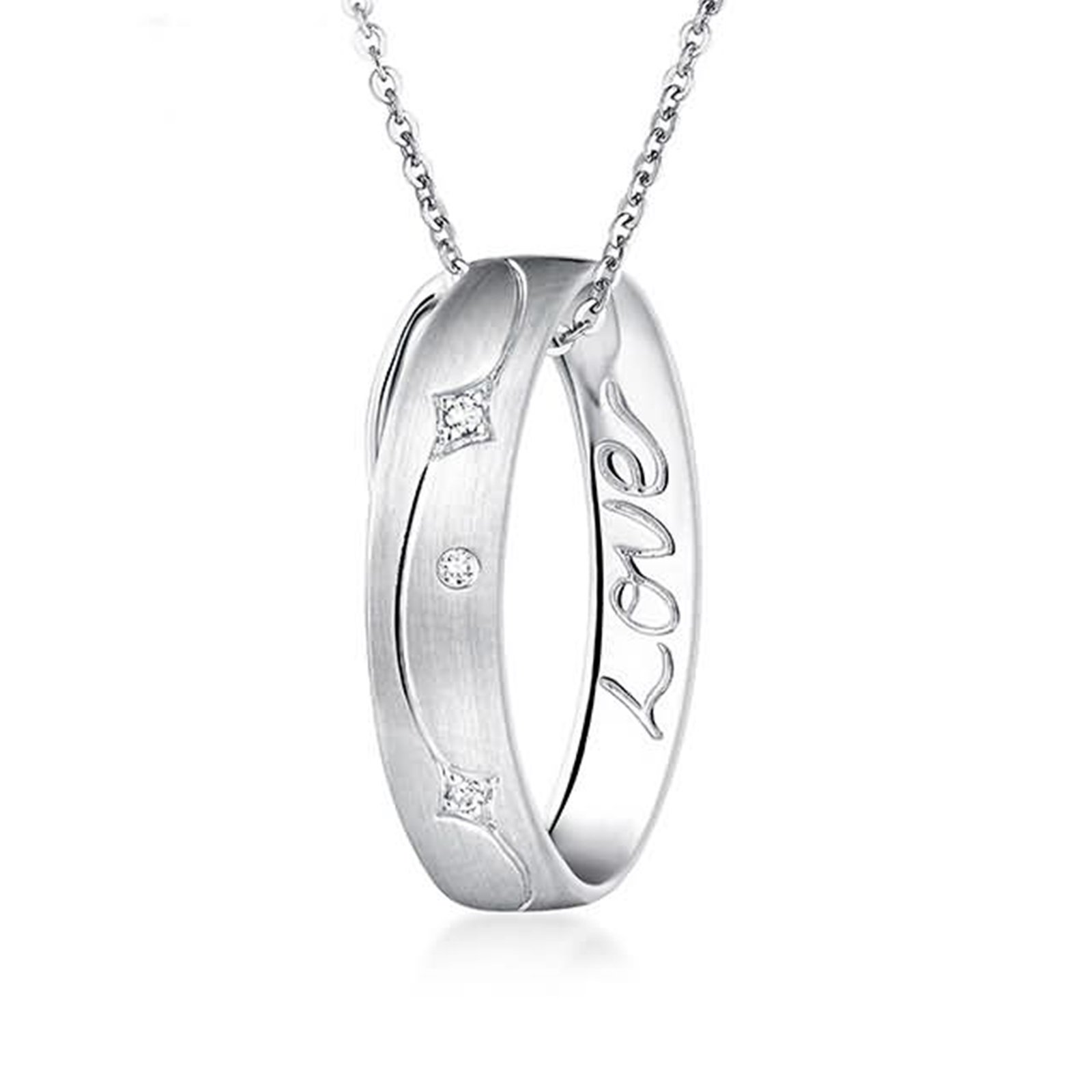 Adisaer 18k(750) White Gold Women Necklace Ring Engraved '' Love'' Pendant Round Diamond Wedding Necklace