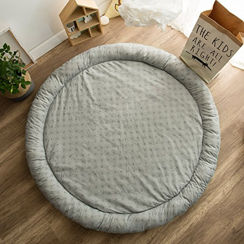 HugeHug Cartoon Soft Fenced Kids Play Mat Floor Area Rugs for Bed and Game Rooms, Reading Nook, Video Games or Watching TV, Thick Non-Toxic Softer Fluffy Round 60 inches for Babies Girls Boys(Rabbit) by HugeHug (Image #4)