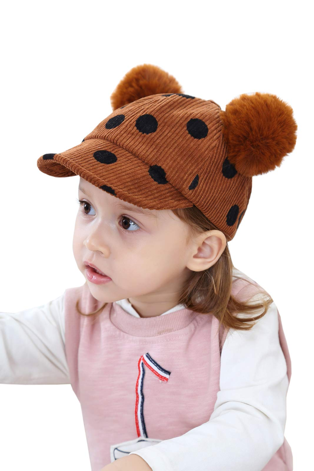 YueLian Baby Girls Polka Dots Pom Pom Corduroy Short Brim Baseball Beanie Caps (Brown)