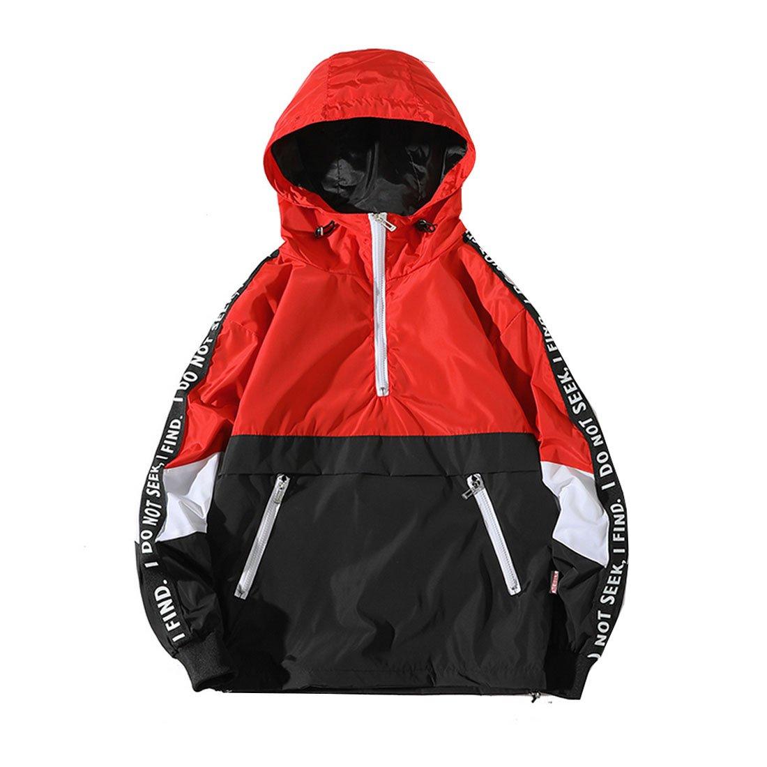 Hzcx Fashion Mens Pullover Hooded Waterproof Lightweight Windbreaker Jackets SJXZ709-JK06-60-RE-US XL TAG 4XL