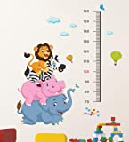 Decals Design 'Cartoon Height Scale wit Elephant Hippo Zebra and Lion' Wall Sticker (PVC Vinyl, 60 cm x 90 cm x 1 cm), Multicolour