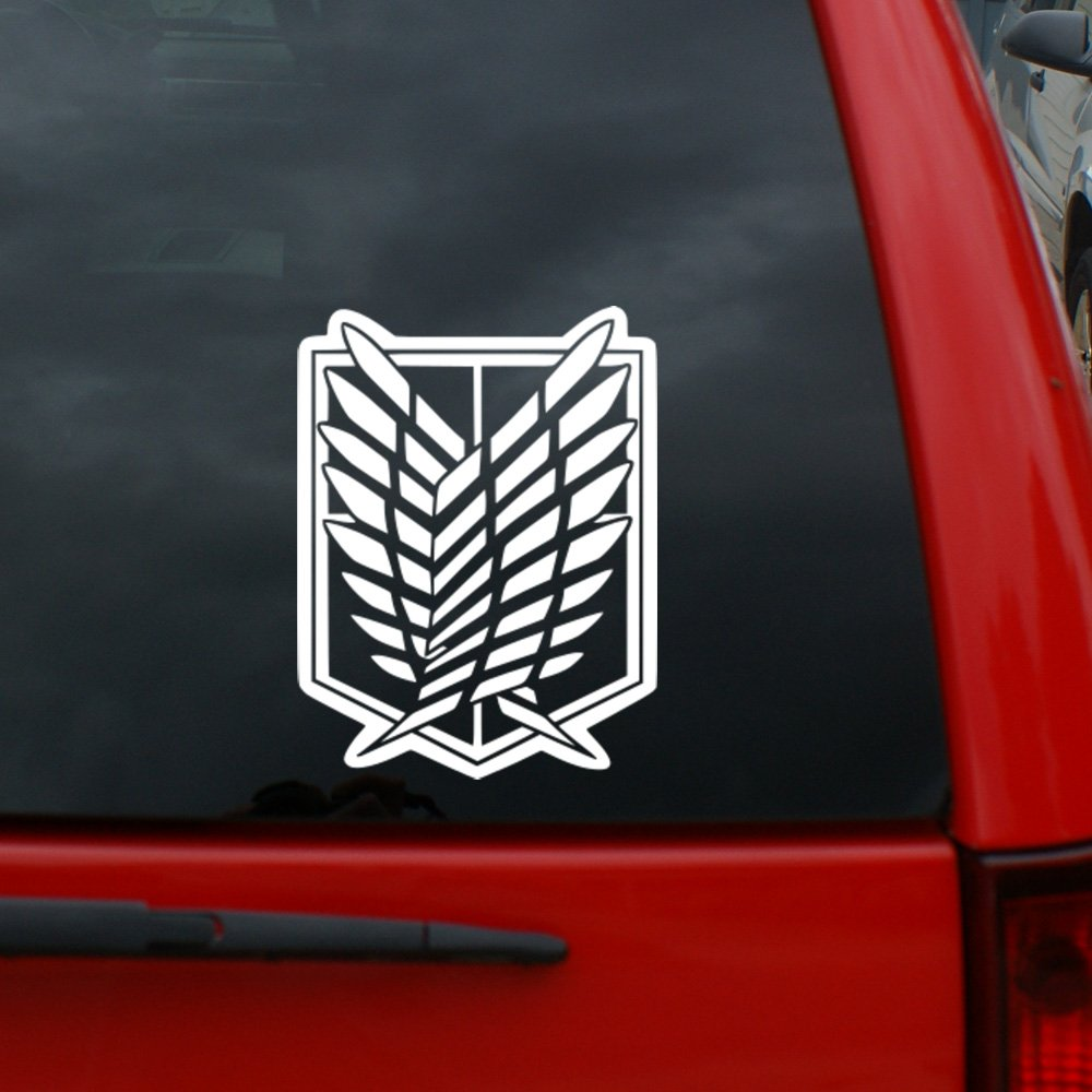 Amazon com attack on titan scouting legion crest decal 5 tall vinyl decal window sticker for cars trucks windows walls laptops and more