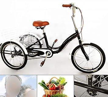 Bicicleta de 20 con 3 ruedas para adultos de una sola velocidad, con