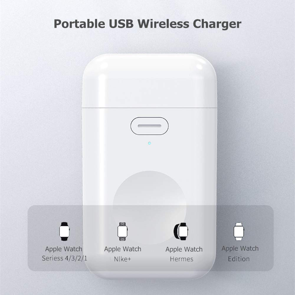 Wireless Charger for Apple Watch, JUBOTY Portable Magnetic Charger Stand 1000mAh Power Bank with Switch and Indicator Outdoor Travel for Apple Watch ...