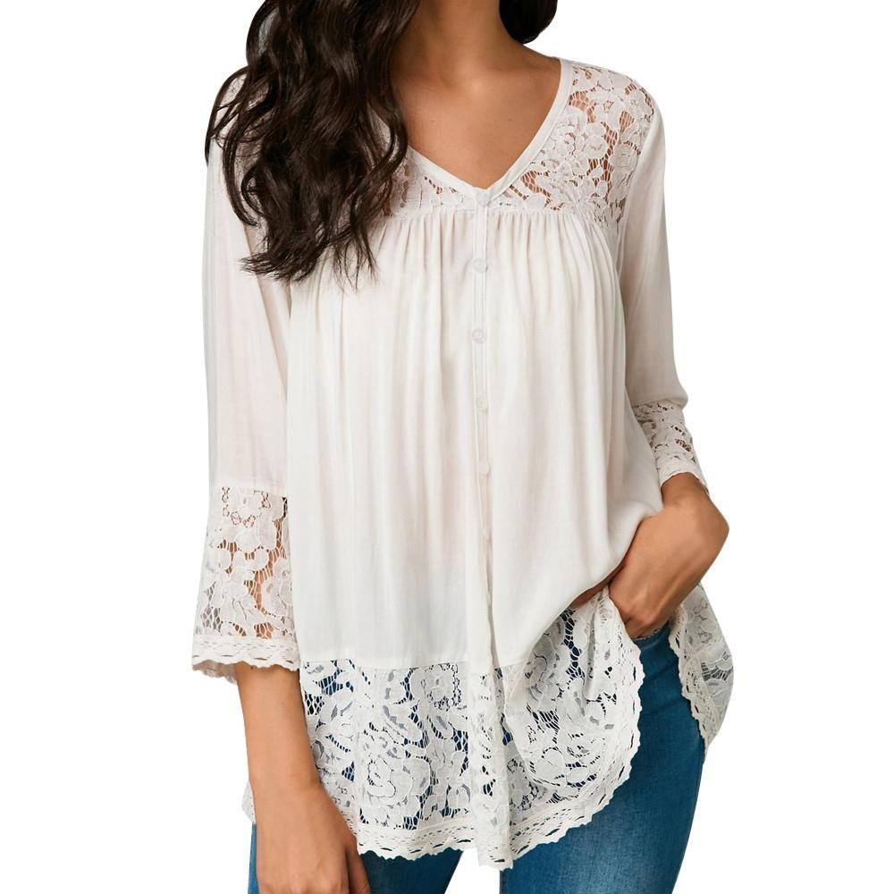 69e0e806 ❀❀❀Boho,Floral , Casual Plus size blouses for women 3/4 sleeve tops loose  casual blouse tops Summer long sleeve blouse Irregular tops Women chiffon  lace ...