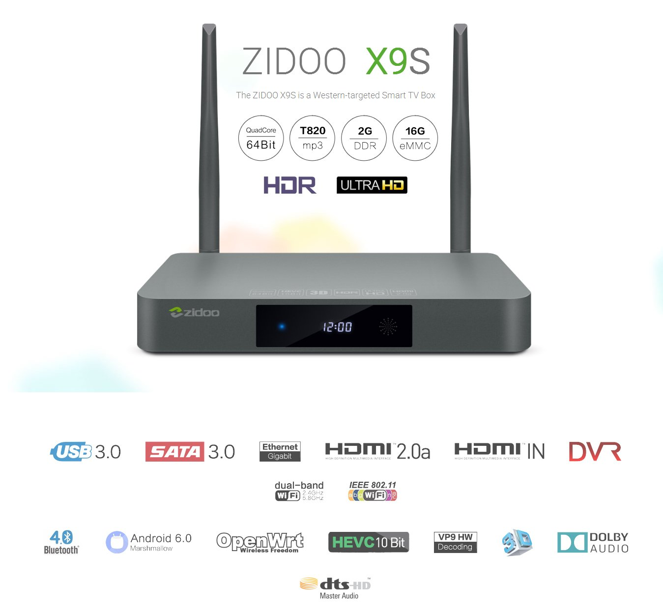 zidoo android tv box x9s android 6 0 quad core 2g 16g dual band wifi sata 3 0 bluetooth 4k hd media player home theater rh amazon co uk