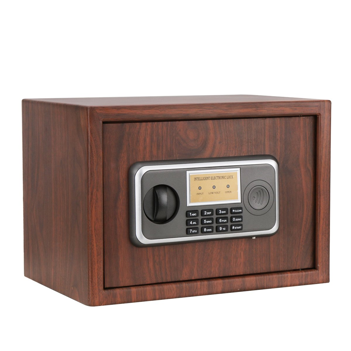 0.33 CF Digital Security Safe Box - Jssmst Lock Safe Box Wall Anchoring Design Wood Color, 0.33 Cubic Feet, WSB001 WSB 20