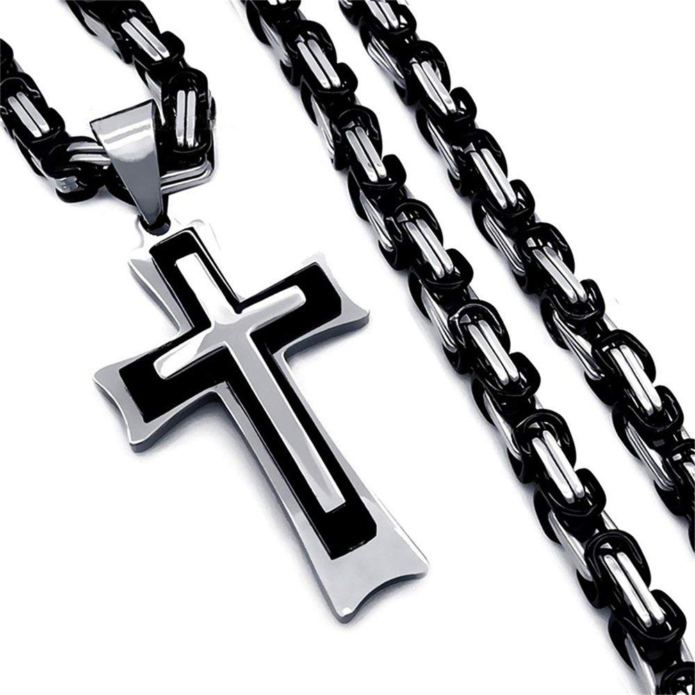 "34/"" Jzone Stainless Steel Cross Pendant Necklace Mens Boys Byzantine Black/&Silver Tone Chain 18-40 inch"