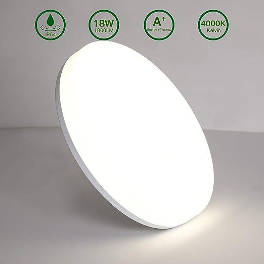 Lámpara de Techo Redonda LED,Luz de Techo Aourow 18W 1800LM,Impermeable IP54,Ideal Para el Dormitorio,Sala de ...