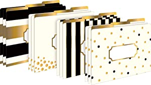 Barker Creek Letter-Size File Folders, Gold, Pack of 12