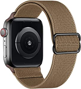 SIRUIBO Stretchy Nylon Solo Loop Bands Compatible with Apple Watch 42mm 44mm, Adjustable Stretch Braided Sport Elastics Women Men Strap Compatible with iWatch Series 6/5/4/3/2/1 SE, Cream Brown