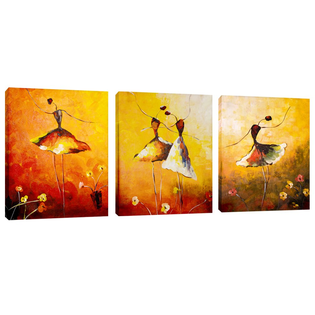 AMCART Canvas Prints Beautiful Ballet Dance Painting Abstract Art Dance Picture Prints on Canvas Wall Art Framed Ready to Hang For Home Living Room Decor (30x40cmx3pcs)