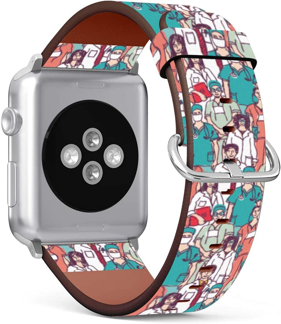 (Medical Doctor and Nurse Wallpaper) Patterned Leather Wristband Strap Compatible with Apple Watch Series 5/4/3/2/1 gen,Replacement for iWatch 38mm / 40mm Bands