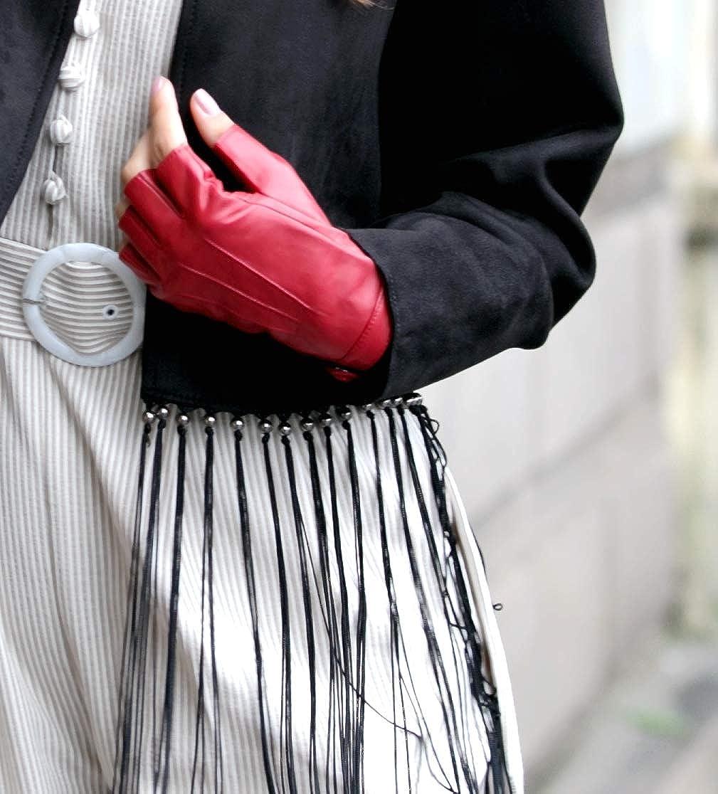 YISEVEN Damen Fingerlose Schaffell Lederhandschuhe