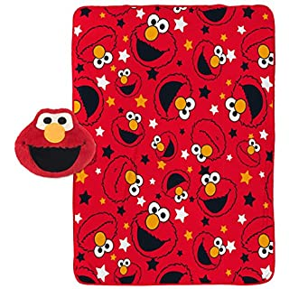 "Jay Franco Sesame Street Elmo Plush Pillow and 40"" Inch x 50"" Inch Throw Blanket - Kids Super Soft 2 Piece Nogginz Set (Official Sesame Street Product)"