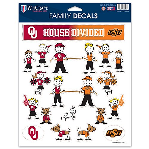 WinCraft Oklahoma Sooners vs Oklahoma State Cowboys (OU VS OSU) House Divided DECALS - FAMILY - Decal Divided House