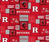 Rutgers Fleece Blanket Fabric-New Patch Pattern-Sold by The Yard