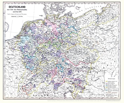 Historische Karte: DEUTSCHLAND zur Zeit der Hohenstaufen und bis 1273 (Plano): Das römisch-deutsche Reich und das Herrschaftsgebiet von Barbarossa (Friedrich I.)