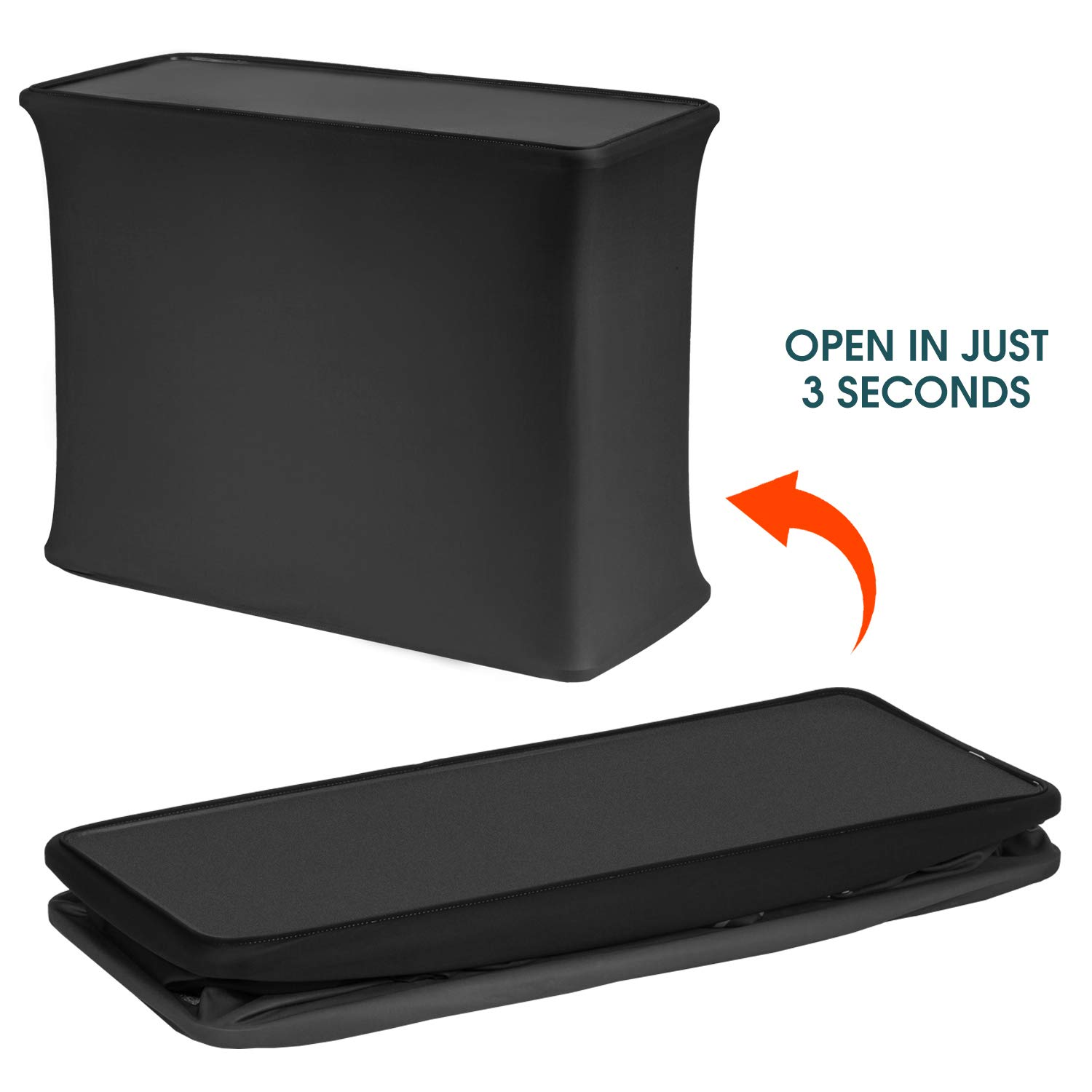 Portable Pop Up Display Stand Podium Counter Table Stand Promotion Retail Trade Show Display with Bag 10 Seconds Installation (Black, A) by APL Display